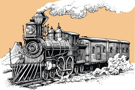 MAQUINA DE VAPOR: vieja m�quina de vapor desde el salvaje oeste Vectores