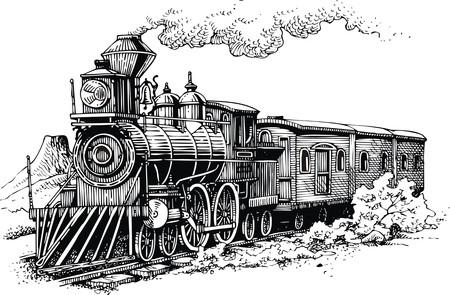 ferrocarril: vieja máquina de vapor desde el salvaje oeste Vectores