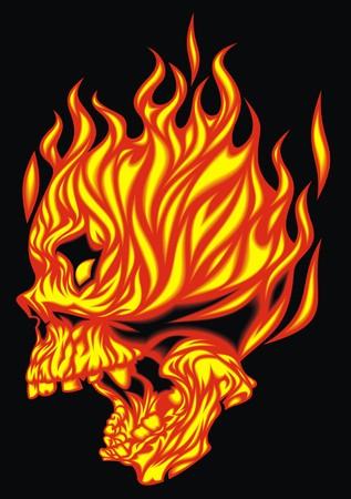fire skull: fire skull  isolated on the black background Illustration