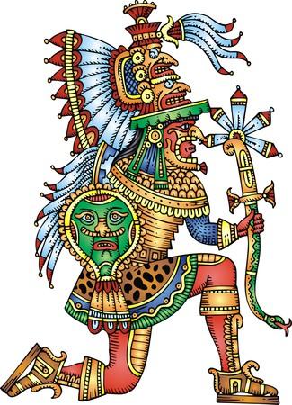 guerrero maya aislado en el fondo blanco