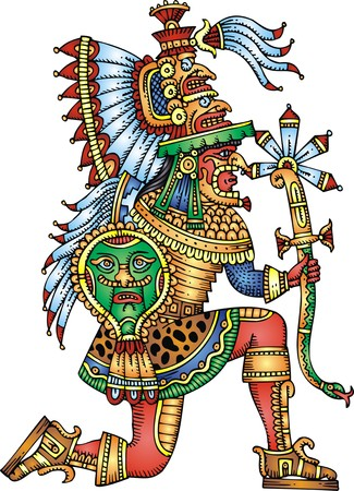 mayan warrior isolated on the white background Illusztráció