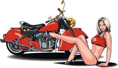 Mi diseño de la moto original y bonita muchacha aislado en el fondo blanco Foto de archivo - 40409927