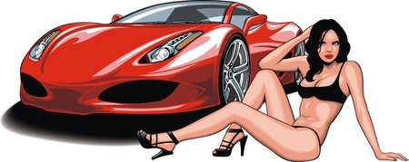 woman isolated: my original design car and woman isolated on the white background Illustration