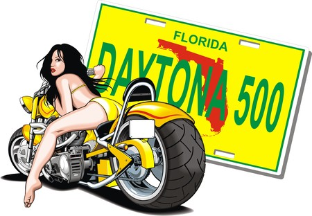 original design: my original design of motorbike and woman Illustration