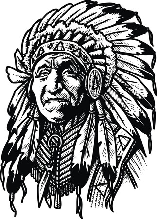 native american ethnicity: old indian man isolated on the white background Illustration