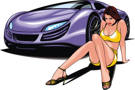 woman isolated: my original design car and nice woman isolated on the white background Illustration
