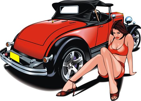 my original design car and nice woman isolated on the white background Illustration