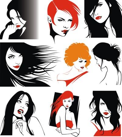 easy heads of very nice girls from my dream 矢量图像