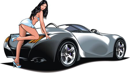 desires: my original design car with girl from my dream isolated on the white background