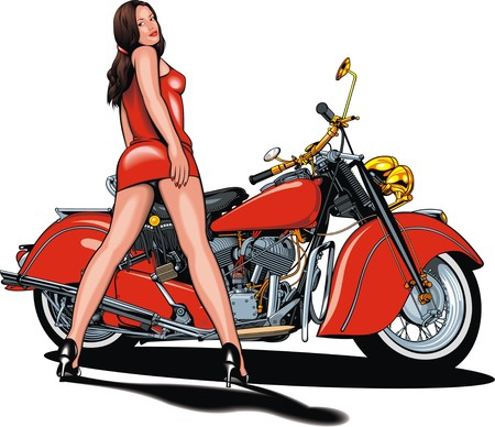 sexy girls: my original motorbike design with nice girl isolated on the white background