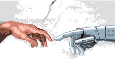 la mano del hombre y el robot y su toque