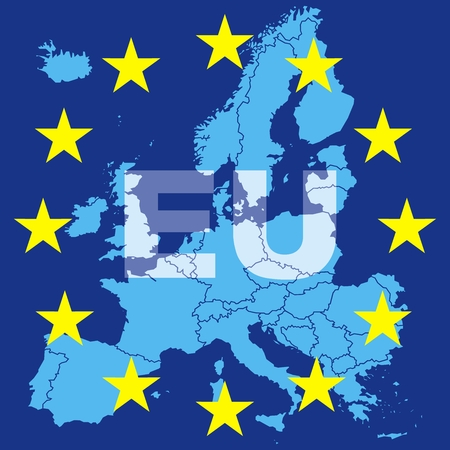 bounds: european union flag and map as nice background