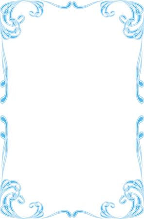 ornament frame: blue ornament frame  isolated on the white background