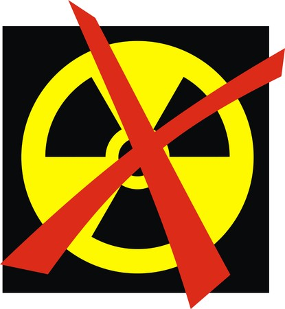 no nuclear: x-ray danger sign isolated on the black background