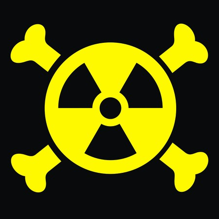 x-ray danger sign isolated on the black background
