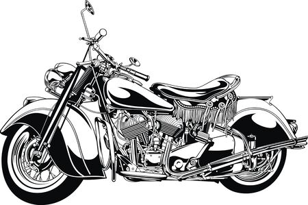 throttle: my original black and white motorbike design Illustration