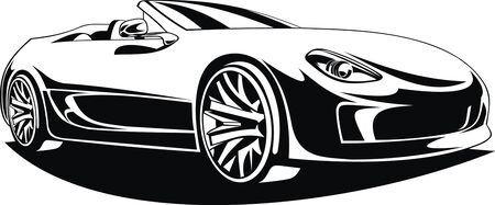 exotic car: my black and white original design car Illustration