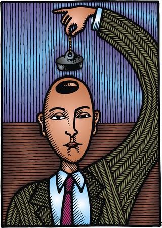 main idea: man has problem with head and brain as modern art