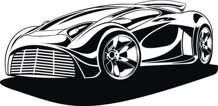 original design: my black and white original design car Illustration