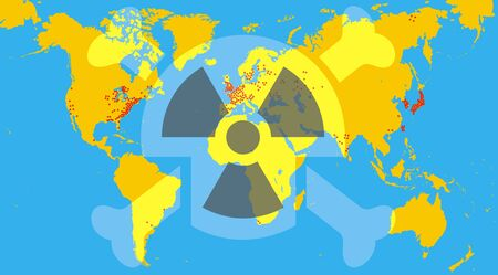 seismic: radioactivity and world map as global problem illustration Illustration