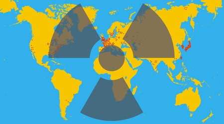 radioactivity: radioactivity and world map as global problem illustration Illustration