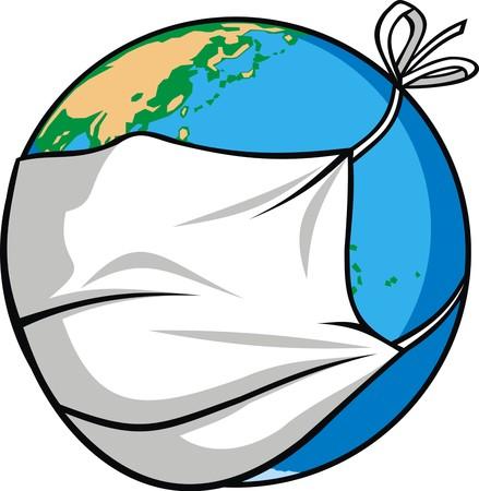 la radioactivité et la carte du monde comme un problème global illustration