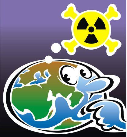 la radioactivité et la carte du monde comme un problème global illustration Vecteurs