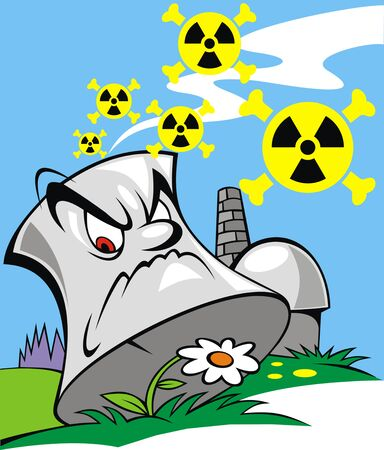 no nuclear: power plant as danger for our nature Illustration
