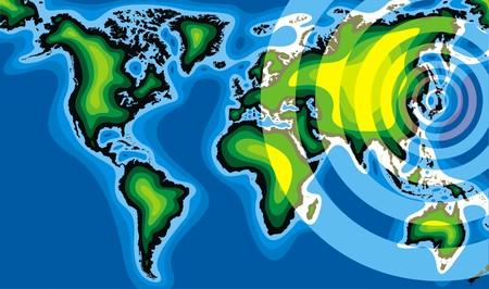 radiactividad: radiactividad y de mundo como ilustraci�n problema mundial Vectores