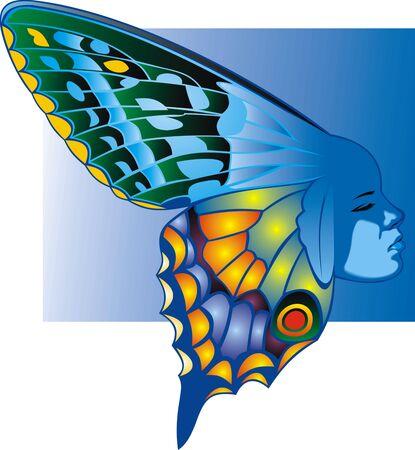 femme papillon: beaut� papillon femme isol� sur le fond blanc