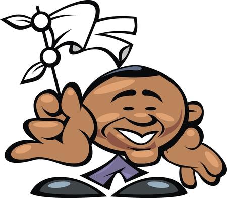 obama: Barack Obama smile isolated on the white background Illustration
