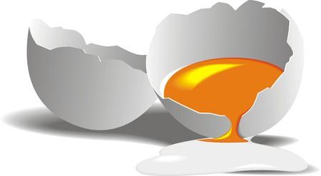 crashed egg isolated on the white background