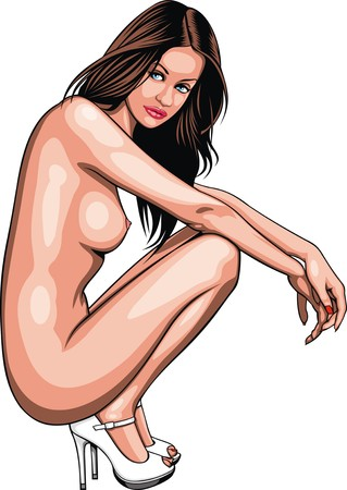nude girl: nice girl from my dream isolated on the white background