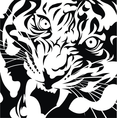 tiger head as nice black and white background Stock Illustratie