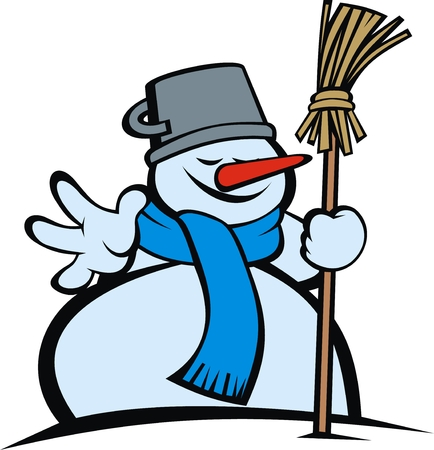snow man: snow man with different smiles isolated on the white background Illustration