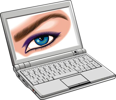 woman eye: notebook and woman eye isolated on the white background Illustration