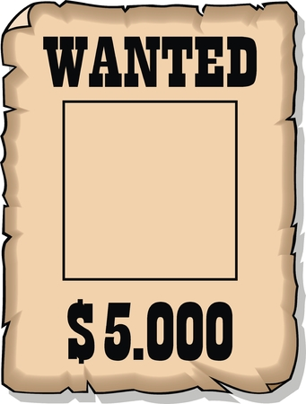 wanted 5000 dolars empty paper isolated on the white background