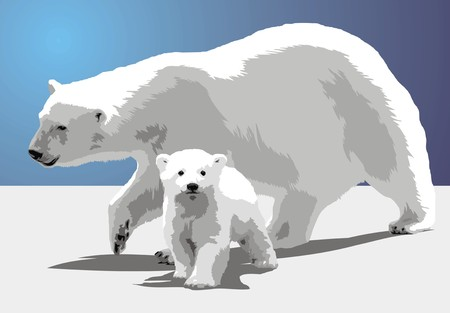 polar bear and his child in the fresh snow