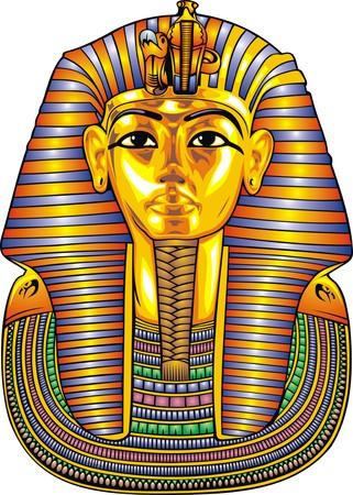 Złoty posąg tutuankhamena samodzielnie na białym tle Ilustracje wektorowe