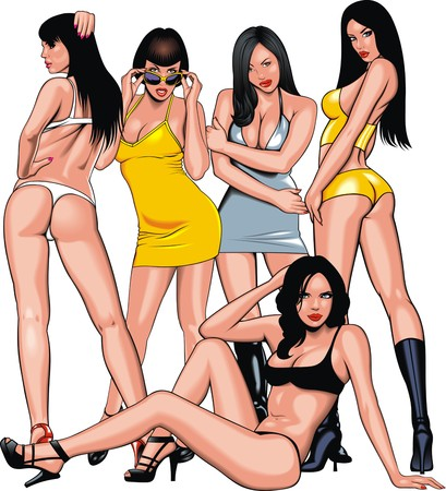 sexy girls: group of nice girls from my dream isolated on the white background Illustration