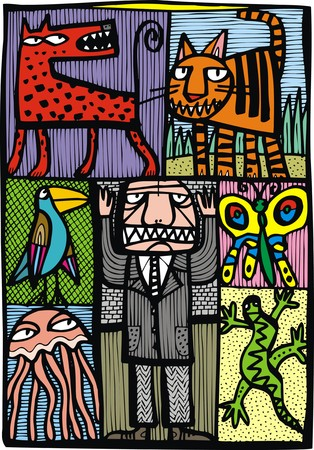 zoo as: zoo manager as very nice abstract illustration
