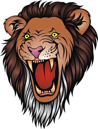 collegiate: wild lion head as symbol of king animal
