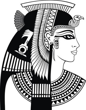detail van cleopatra hoofd geïsoleerd op de witte achtergrond Stock Illustratie