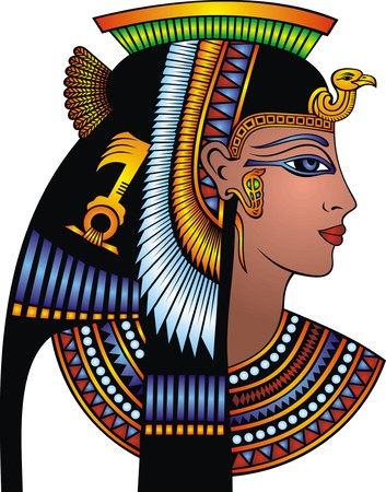 ancient egyptian culture: detail of cleopatra head isolated on the white background