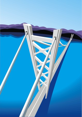 nice background: long bridge and blue sea as nice background
