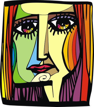 nice woman head from my dream as artist illustration