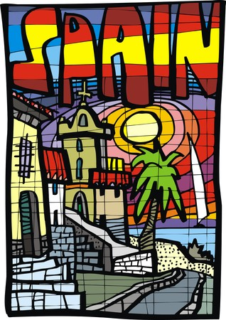 beaches of spain: sunny spain beaches as abstract color illustration