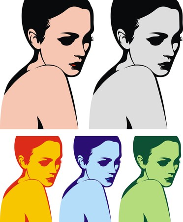 black woman face: nice woman head in four colors as nice background Illustration