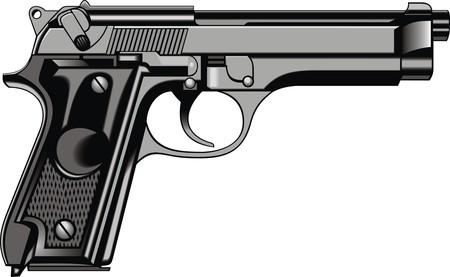 antique pistols: modern hand gun (pistol) isolated on the white background