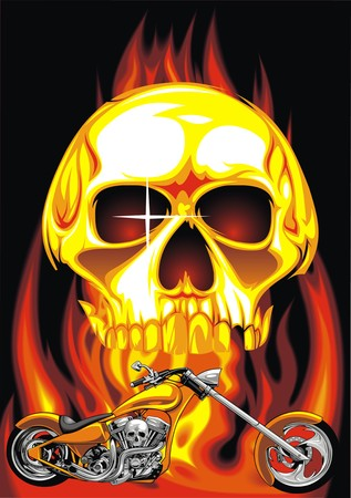 throttle: human skull and my original motorbike design in the fire Illustration